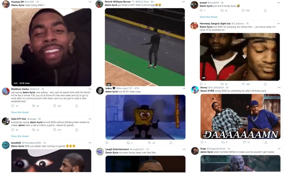 Damn Kyrie Irving fined indoor party