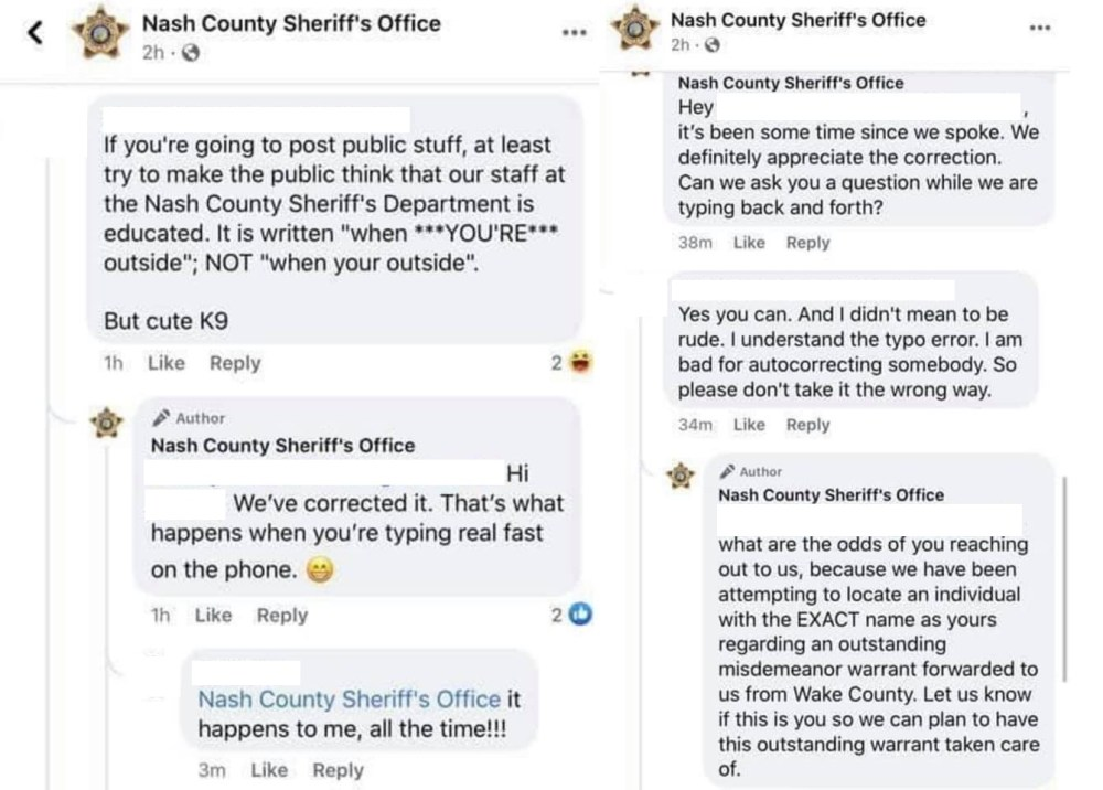 Nash County Sheriff's Office Facebook woman outstanding warrant