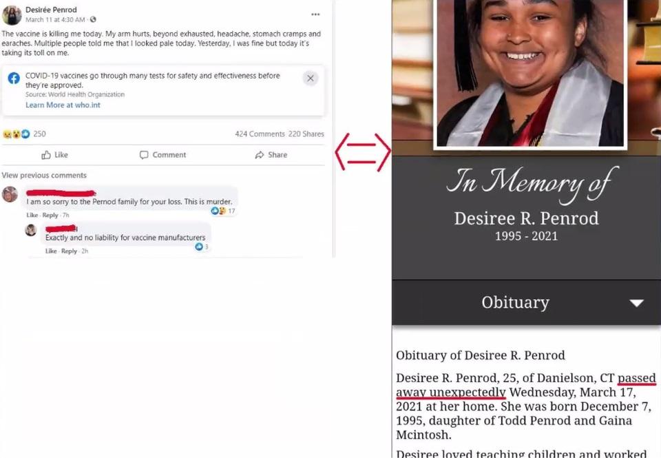 Desiree Penrod COVID-19 vaccination death