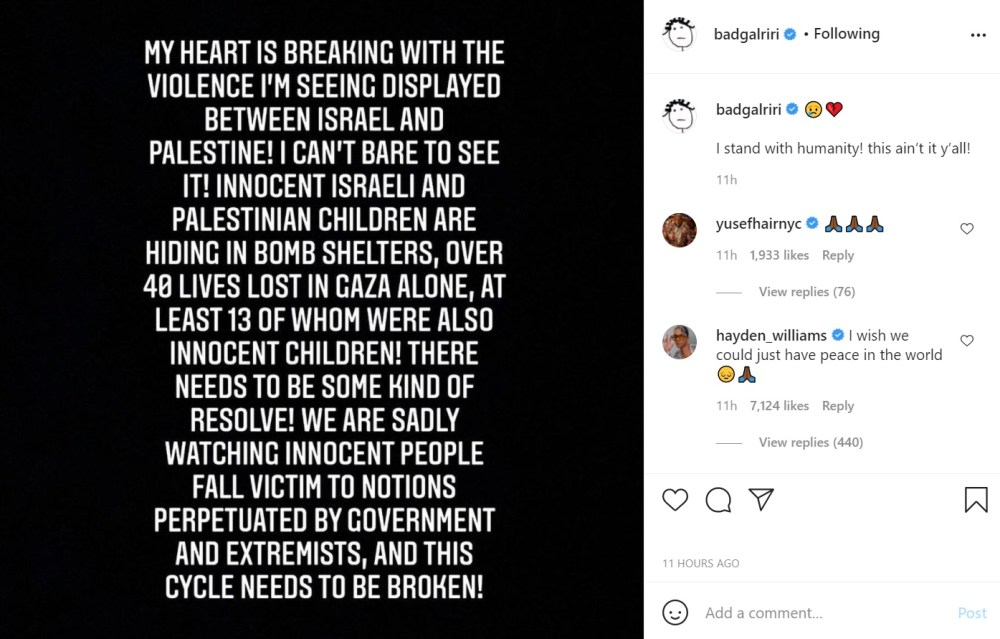 Rihanna Israel Palestine conflict Twitter dragged