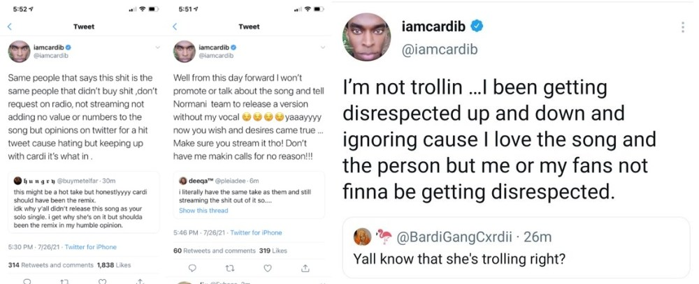 Cardi B says she will no longer promote Wild Side single