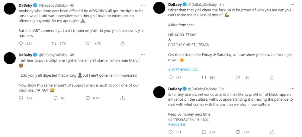 DaBaby apologizes to the LGBTQ community but doesn't take back what he said