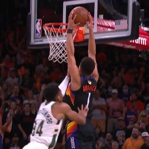 Devin Booker dunks on Giannis during Game 5 of 2021 NBA Finals