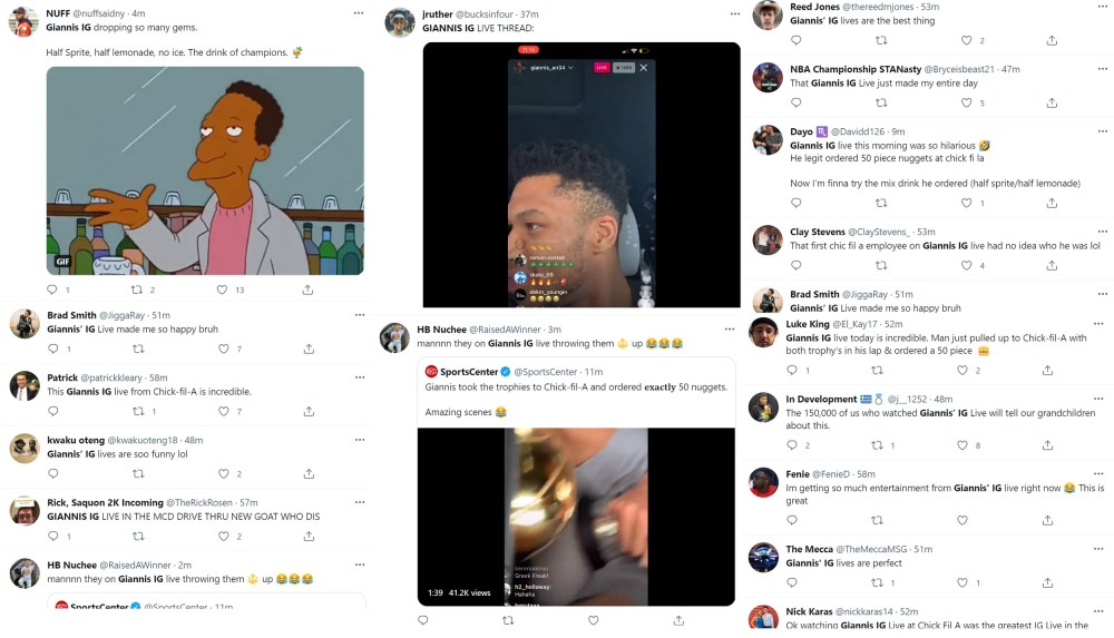 Giannis celebrates his first championship sharing it on IG Live