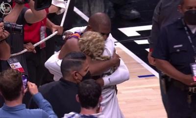 Lil Wayne hugs Chris Paul