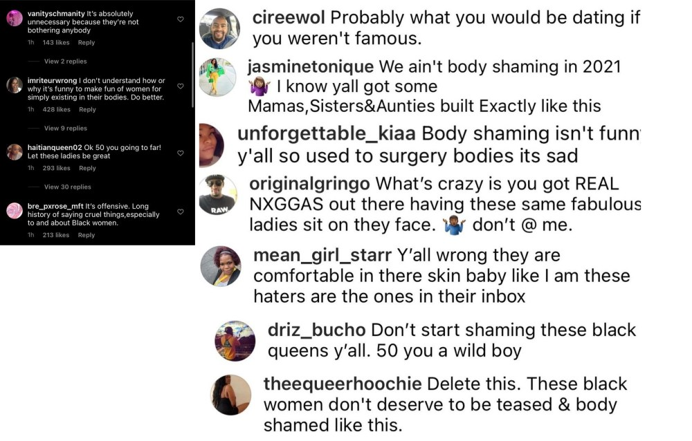 50 Cent faces backlash for making fun of plus-sized women