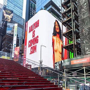 Aaliyah billboard launches in Times Square, weeks before her music hits Spotify