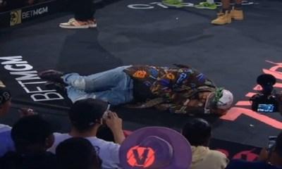 Juelz Santana pretends to sleep during The LOX Verzuz performance