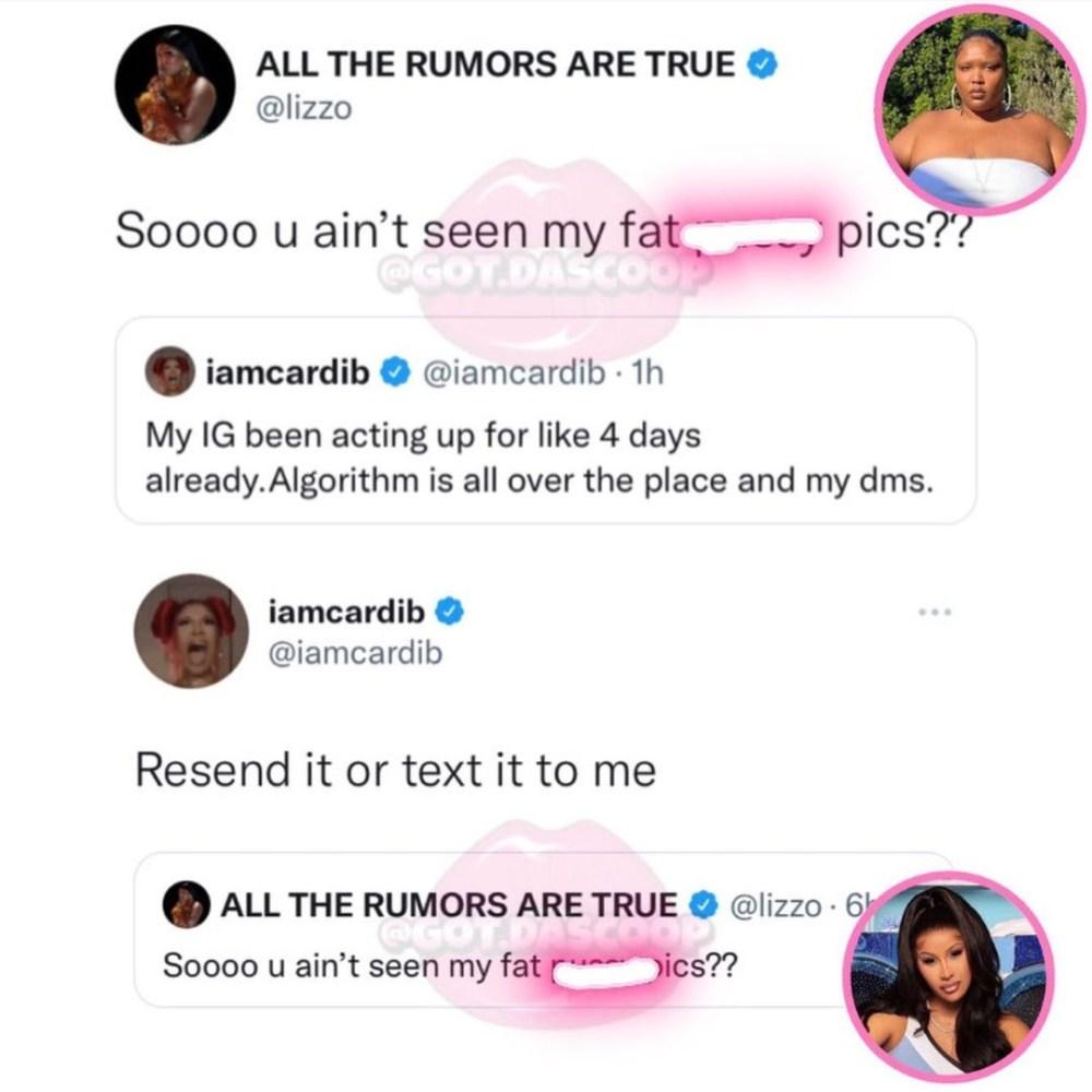 Lizzo and Cardi B flirt, via Twitter, Lizzo sends X-rated video