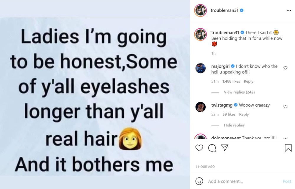 T.I. asks why some women's eyelashes are longer than their real hair
