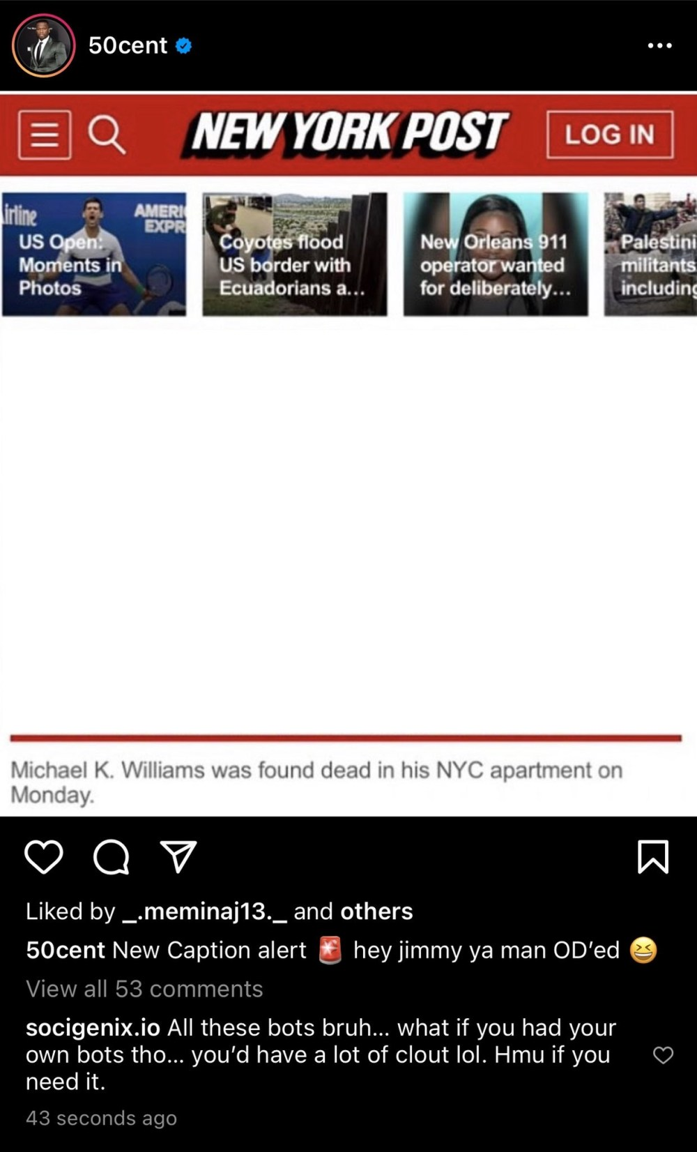 50 Cent dragged for comparing Michael K. Williams death to Raising Kanan characters dying of overdoses