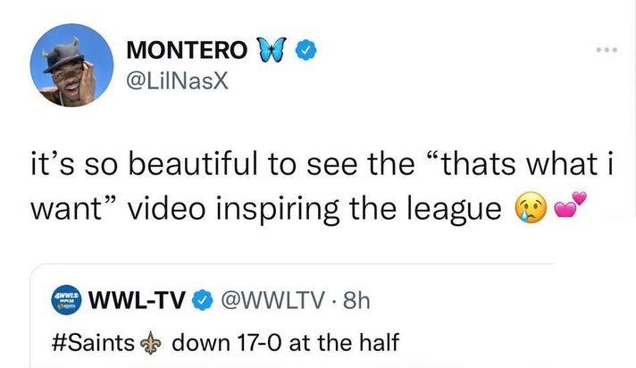 Lil Nas X trolls the Saints Panthers game, saying That's What I Want video inspired the league, after awkward tackle