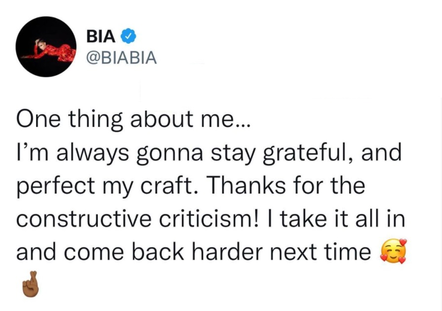 Bia thanks fans for criticizing her BET Hip Hop Awards performance
