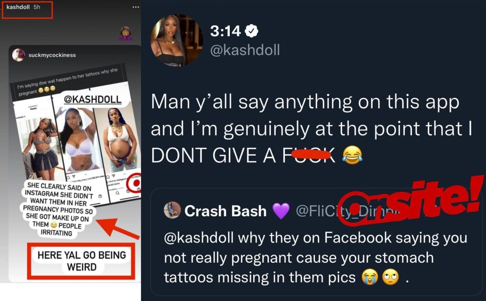 Kash Doll responds to fans who accuse her of faking pregnancy because her stomach tattoos aren't visible in her maternity pics