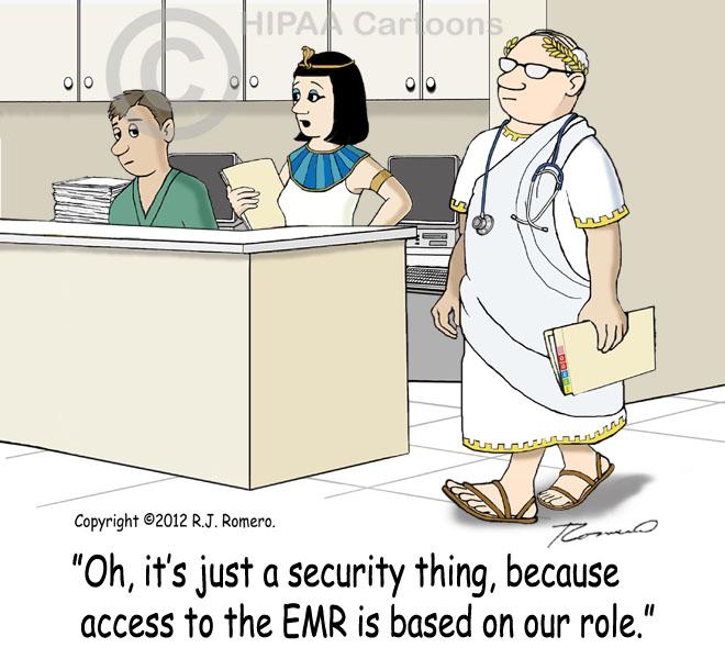 Cartoon-Nurse-tells-new-nurse-that-access-to-EMR-is-based-on-role_emr130