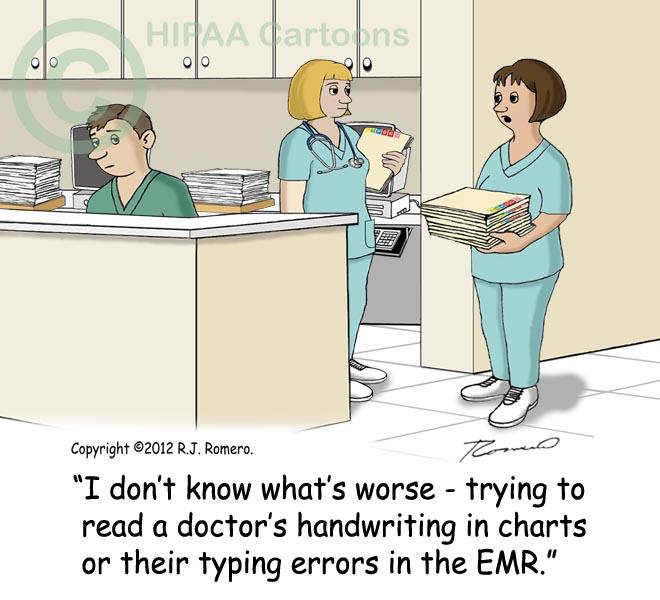 Cartoon-Nurses-talking-about-doctor-handwriting-vs-typo-in-EMR_138