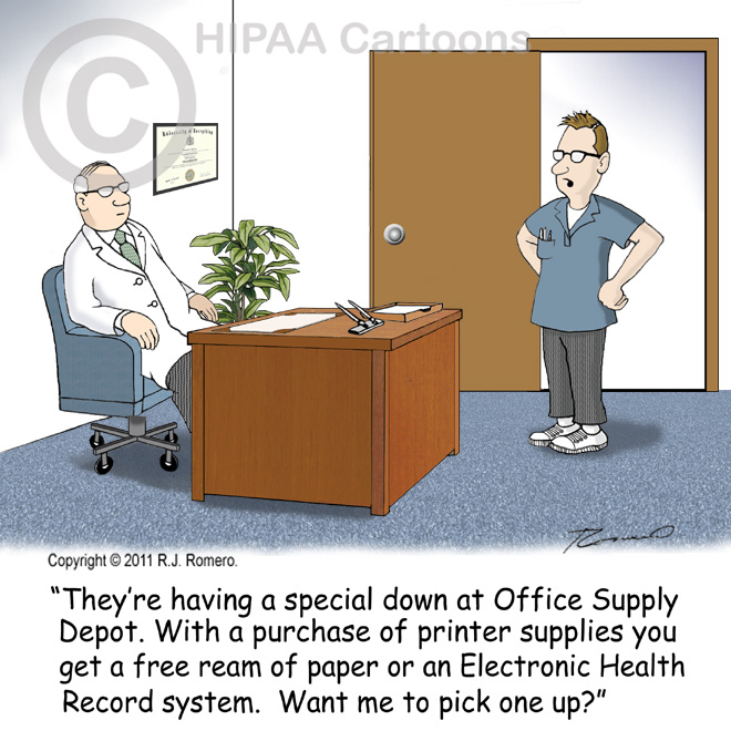 Cartoon-technician-tells-doctor-he-can-get-ehr-system-at-office-supply-store_emr113