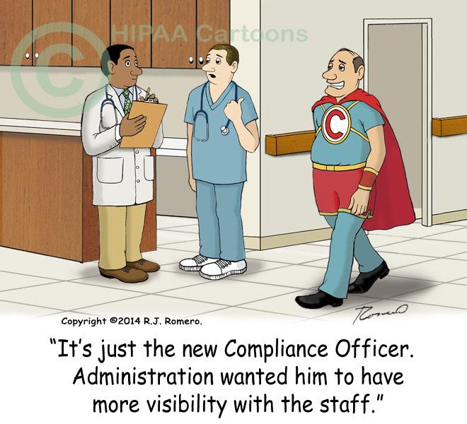Cartoon-Nurse-tells-doctor-compliance-officer-in-super-hero-suit_e111