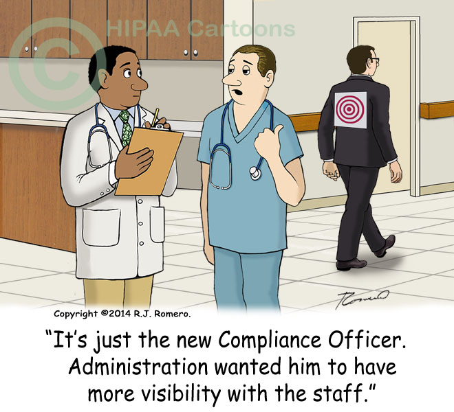 Cartoon-Nurse-tells-doctor-compliance-officer-with-target-on-back_e113