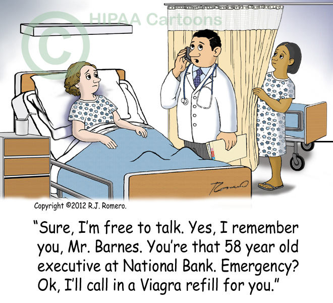 Cartoon-doctor-discusses-patient-information-on-phone-in-front-of-other-patient_p127