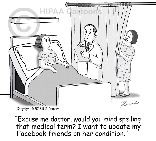Cartoon-woman-eavesdrops-doctor-talking-to-patient-in-hospital-bed-p123