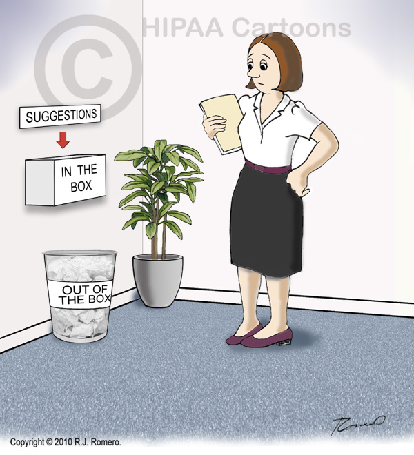 Cartoon-woman-in-front-of-suggestion-box_b105