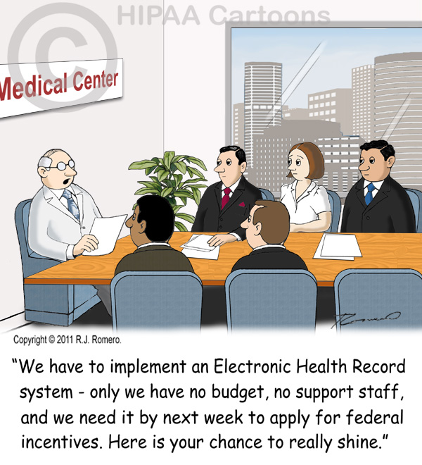 Cartoon-doctor-tells-staff-that-they-need-to-implement-ehr-system_emr109