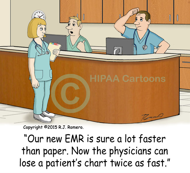 Cartoon-nurse-says-EMR-efficient-physicians-lose-charts-faster_emr152