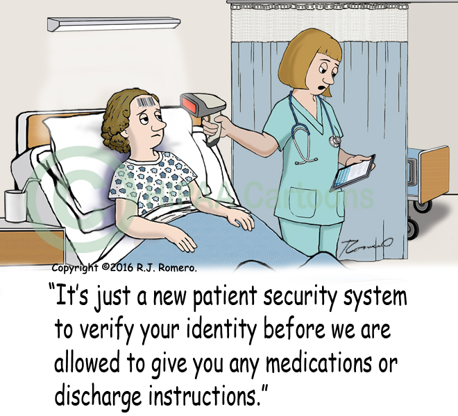 Cartoon-Nurse-uses-bar-code-scanner-on-patient_p167