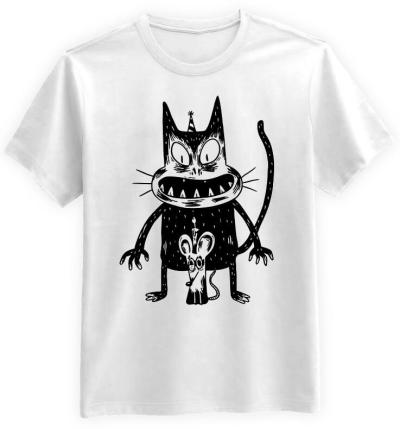 Przerażony-Kot-i-Mysz-biala-koszulka-meska