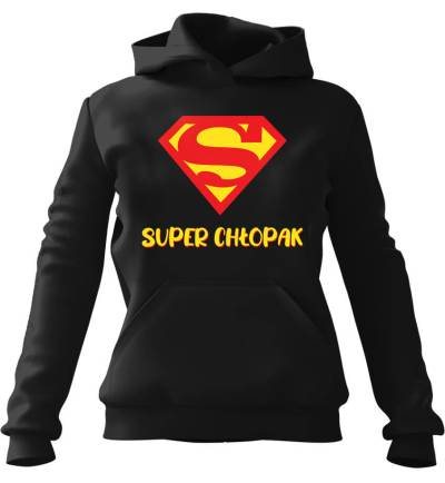 Bluza z kapturem Super Chłopak Czarna