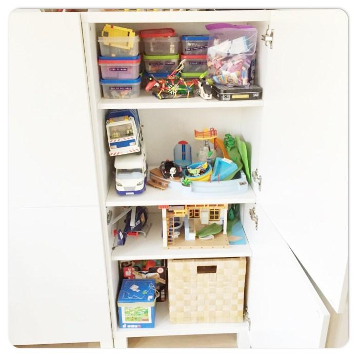 Hoe ik het speelgoed georganiseerd opruim kast playmobil