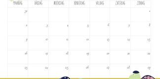 Free Printable kalender voor 2020