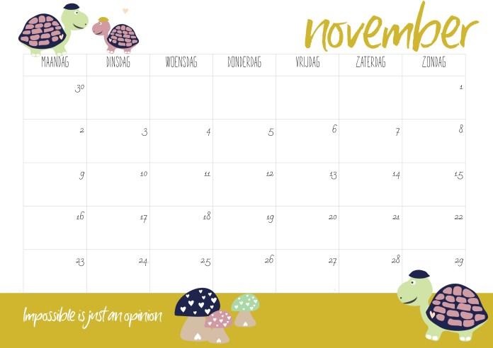 gratis kalender uitprinten 2020