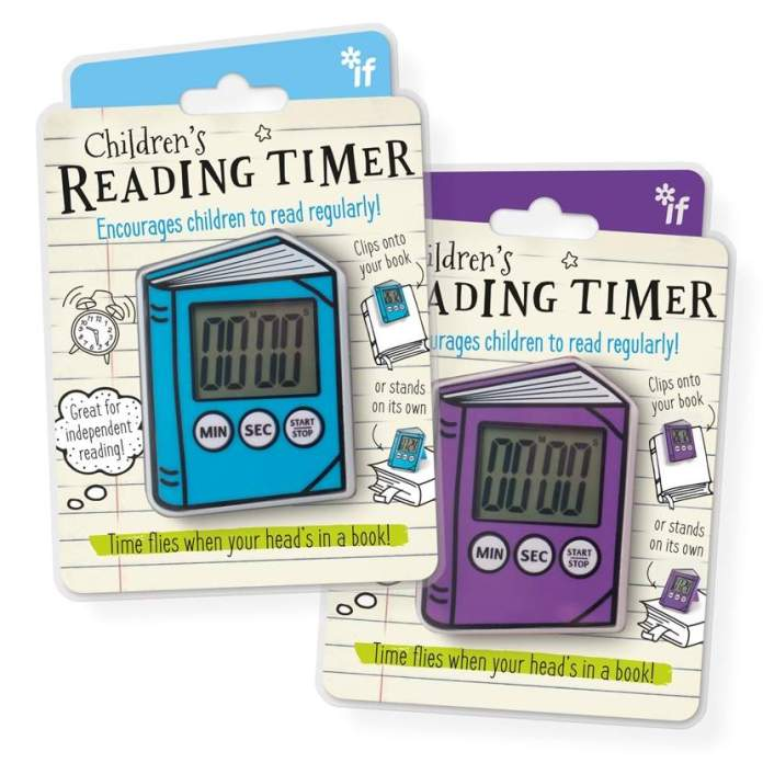 De Reading Timer blauw of paars