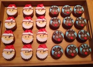 cupcakes rendier en kerstman