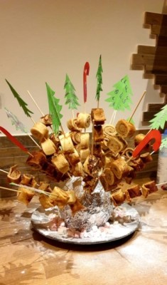 pannenkoek rolletjes op kerstprikkers