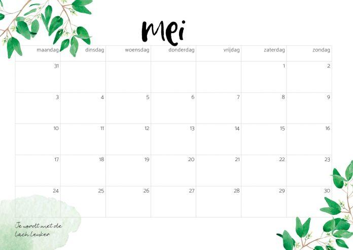 Free printable Kalender 2021 mei