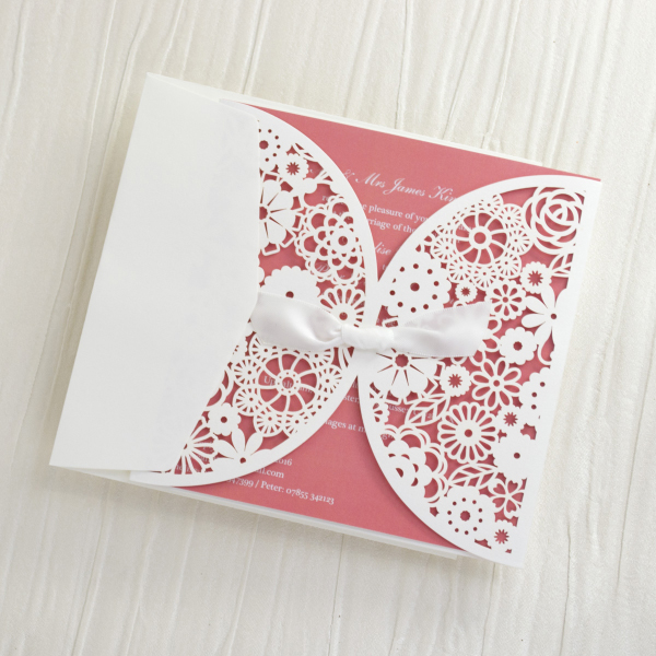 Personalised Lace Wedding Invitations Invites Laser Cut From Uk C Peach Blush Pink