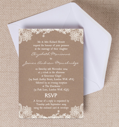 Rustic Vine Lace Kraft Brown Paper Wedding Invitations Invites Printable Printed By Hip Ay Stationery