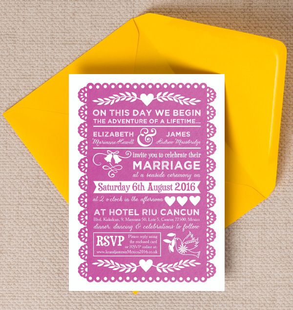 Papel Picado Inspired Mexican Wedding Invitations