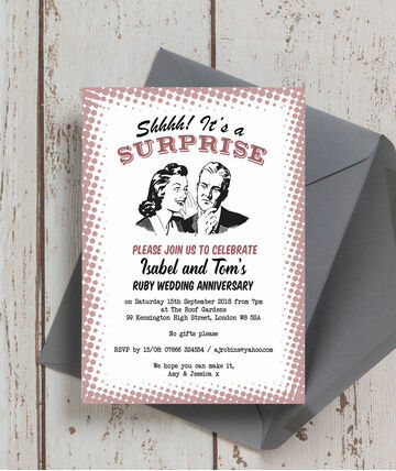 Retro Surprise 40th Ruby Wedding Anniversary Invitation 8 00 From 1 25 Full Of 1950s Style Design And Humour This Weddin