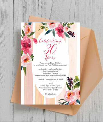 Painted Peonies 30th Pearl Wedding Anniversary Invitation 8 00 From 1 25 Make Your A Summer Celebratio