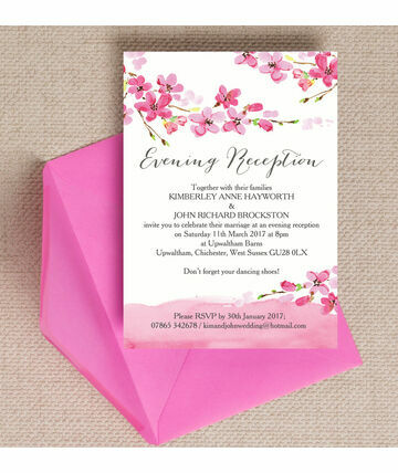 Cherry Blossom Evening Reception Invitation 6 00 From 0 85 A Beautiful Choice For Spring Wedding Celebration Th