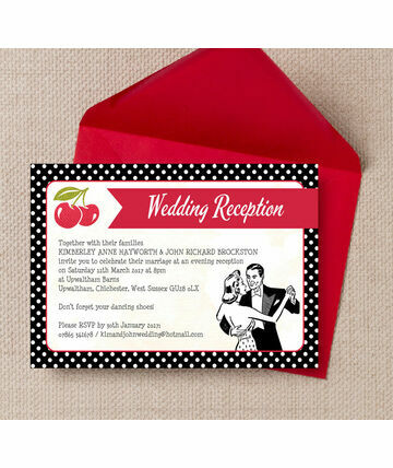 Retro Cherry Rockabilly Evening Reception Invitation 6 00 From 0 85 Specially Designed For Inviting Your Only Guest