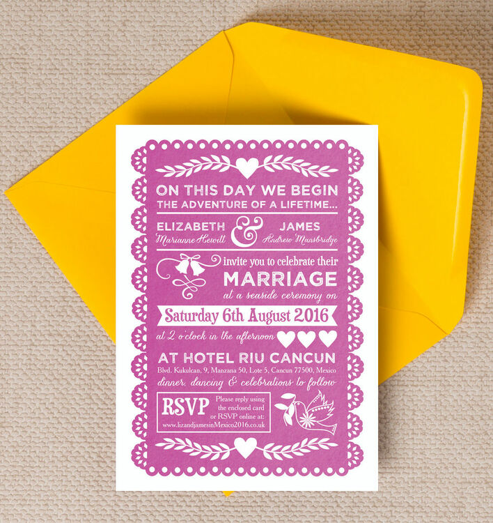 Mexican Inspired Papel Picado Wedding Invitation 12 00 From 1 Inform Guests Of The All Important Details Your Fabu