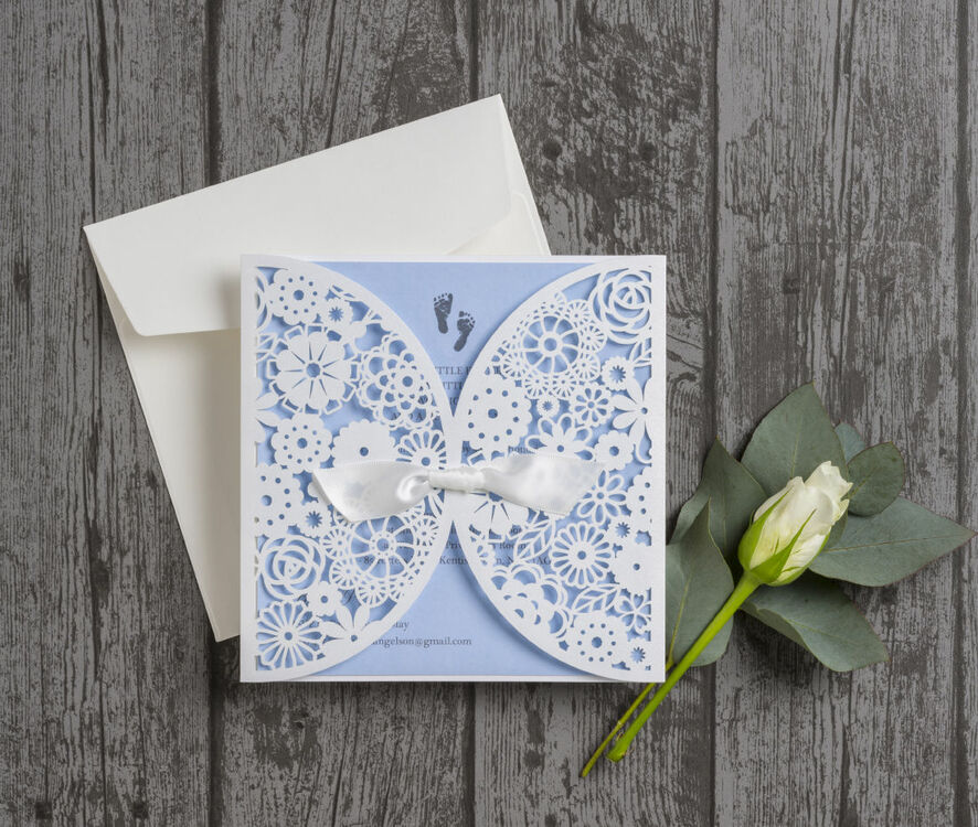 Vintage Lace Laser Cut Baby Shower Invitations From 170 Each