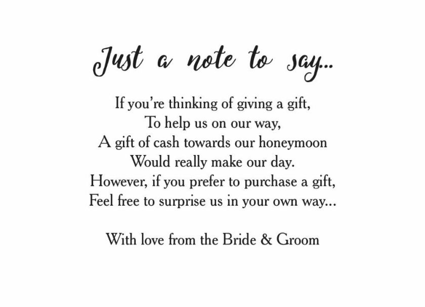 Poems For Wedding Invites Asking Money HoneymoonWedding ...