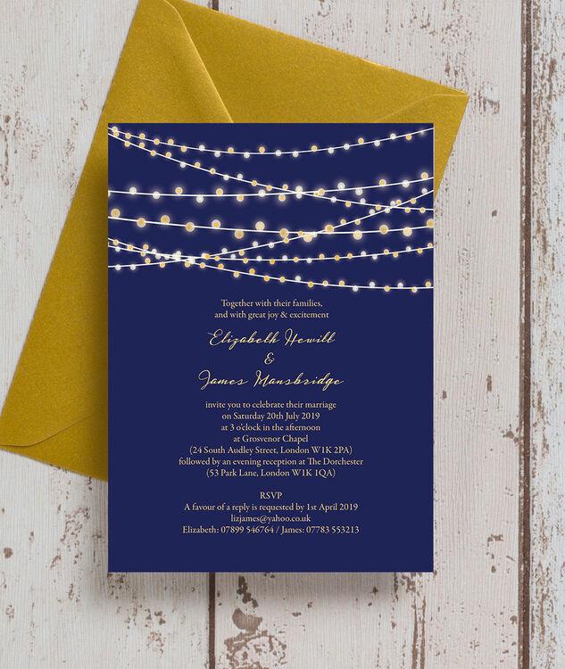 Navy Blue Gold Fairy Lights Wedding Invitation Additional 2