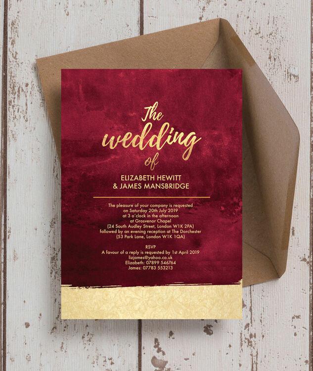 Burgundy Amp Gold Wedding Invitation From 100 Each